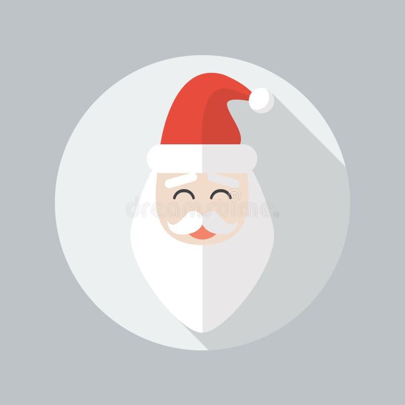 Επίπεδο εικονίδιο Χριστουγέννων claus santa διανυσματική απεικόνιση