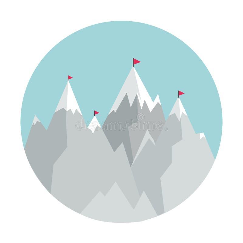 Επίπεδο εικονίδιο ύφους με τα βουνά ελεύθερη απεικόνιση δικαιώματος