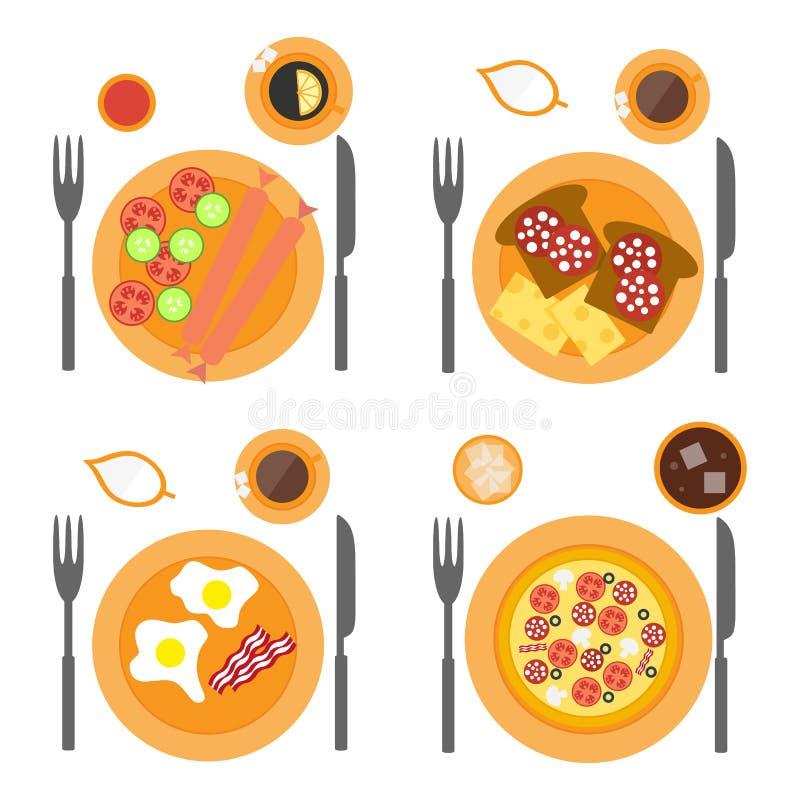 Επίπεδο εικονιδίων προγευμάτων που τίθεται με τέσσερις επιλογές των τροφίμων απεικόνιση αποθεμάτων