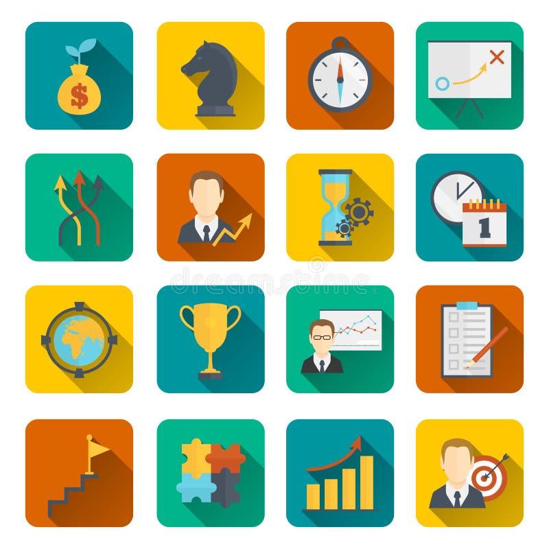 Επίπεδο εικονιδίων προγραμματισμού επιχειρησιακής στρατηγικής διανυσματική απεικόνιση