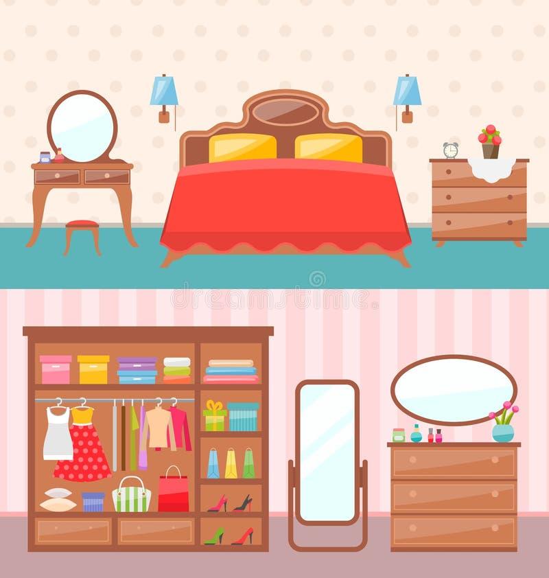 Επίπεδο εσωτερικό κρεβατοκάμαρων σχεδίου επίσης corel σύρετε το διάνυσμα απεικόνισης Σύγχρονα έπιπλα, κρεβάτι κουκετών, τάπητας,  διανυσματική απεικόνιση
