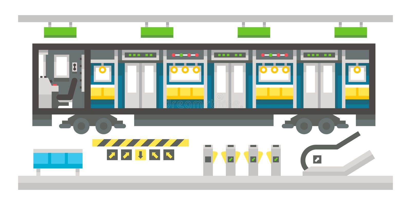 Επίπεδο εσωτερικό υπόγειων τρένων σχεδίου ελεύθερη απεικόνιση δικαιώματος