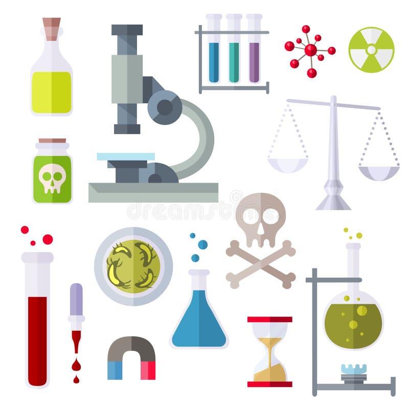 Επίπεδο θέμα χημείας εικονιδίων ύφους διανυσματική απεικόνιση