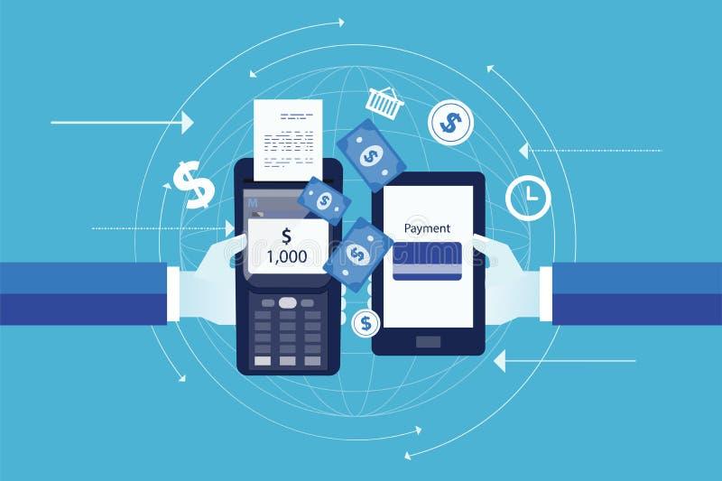 Επίπεδο διάνυσμα για έννοια επιχειρησιακής την κινητή πληρωμής απεικόνιση αποθεμάτων