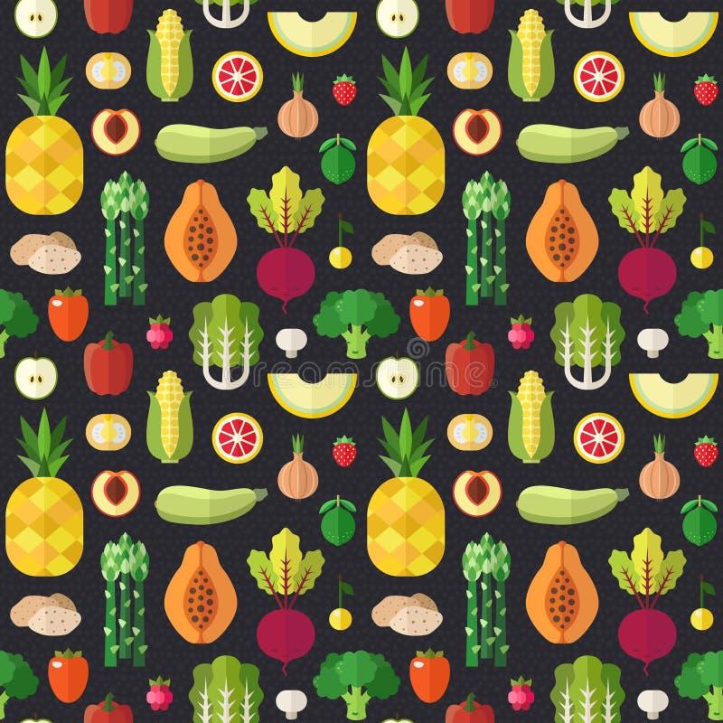 Επίπεδο διανυσματικό άνευ ραφής σχέδιο φρούτων και λαχανικών μέρος δύο διανυσματική απεικόνιση