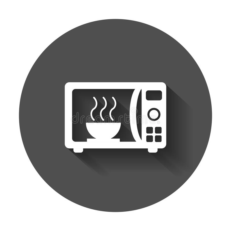 Επίπεδο διανυσματικό εικονίδιο μικροκυμάτων Λογότυπο συμβόλων φούρνων μικροκυμάτων illustrat διανυσματική απεικόνιση