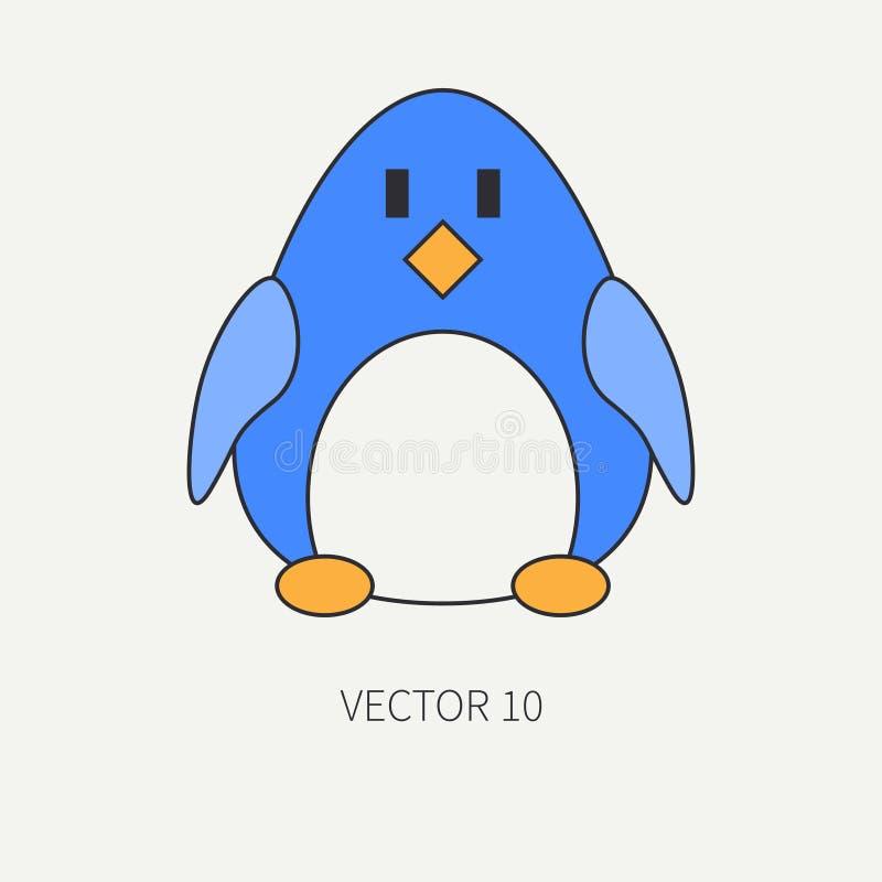 Επίπεδο διανυσματικό εικονίδιο χρώματος γραμμών με το χαριτωμένο ζώο για τα προϊόντα μωρών - penguin Ύφος κινούμενων σχεδίων Παιδ ελεύθερη απεικόνιση δικαιώματος