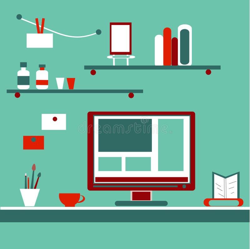 Επίπεδο διανυσματικό σχέδιο εγχώριων εργασιακών χώρων Χώρος εργασίας για ελεύθερη απεικόνιση δικαιώματος