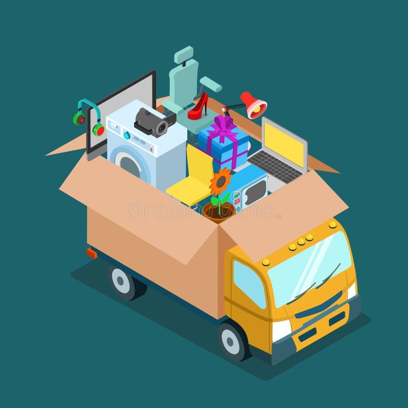 Επίπεδο διανυσματικό isometric φορτηγό κίνησης Διαδικτύου παράδοσης που ψωνίζει κατ' οίκον ελεύθερη απεικόνιση δικαιώματος