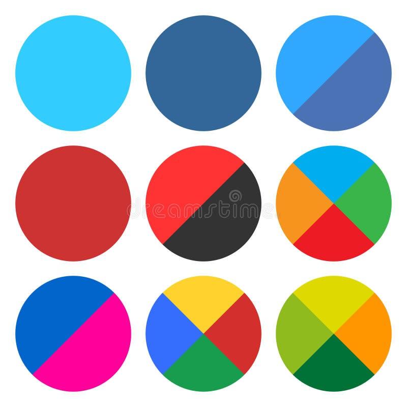 Επίπεδο κενό στρογγυλό κουμπί Ιστού εικονιδίων καθορισμένο διανυσματική απεικόνιση