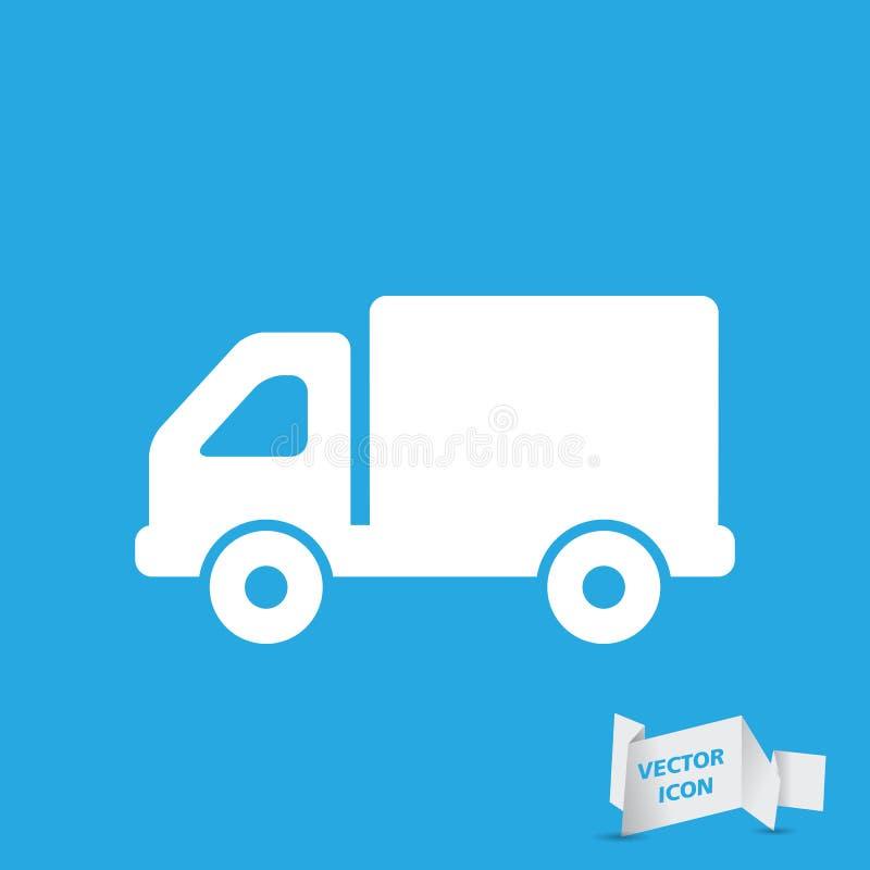 Επίπεδο κουμπί εικονιδίων φορτηγών ελεύθερη απεικόνιση δικαιώματος
