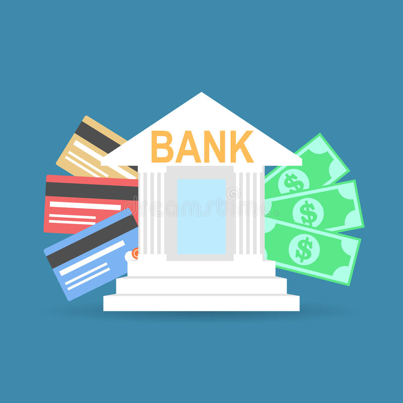 Download Επίπεδο κτήριο τραπεζών ύφους με τις πιστωτικές κάρτες και τις σημειώσεις νομίσματος Διανυσματική απεικόνιση - εικονογραφία από πληρώστε, σημειώσεις: 62722465