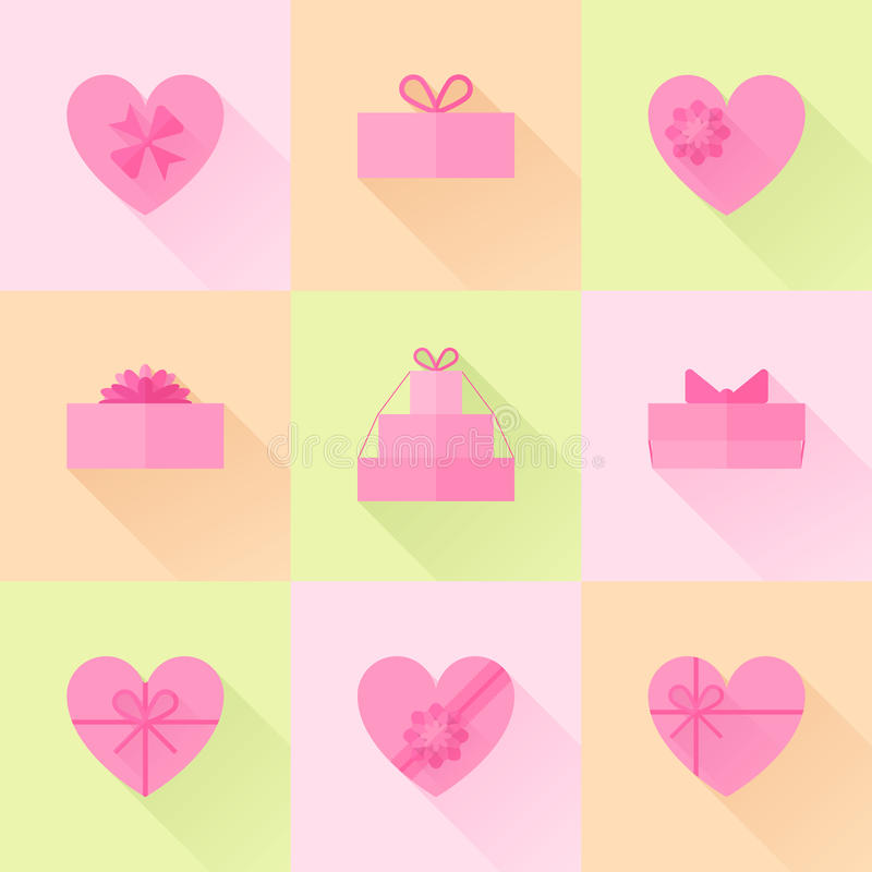 Επίπεδο κόκκινο κιβώτιο δώρων υπό μορφή συνόλου εικονιδίων καρδιών απεικόνιση αποθεμάτων