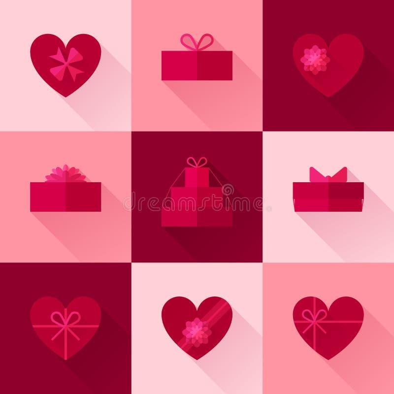 Επίπεδο κόκκινο κιβώτιο δώρων υπό μορφή συνόλου εικονιδίων καρδιών ελεύθερη απεικόνιση δικαιώματος