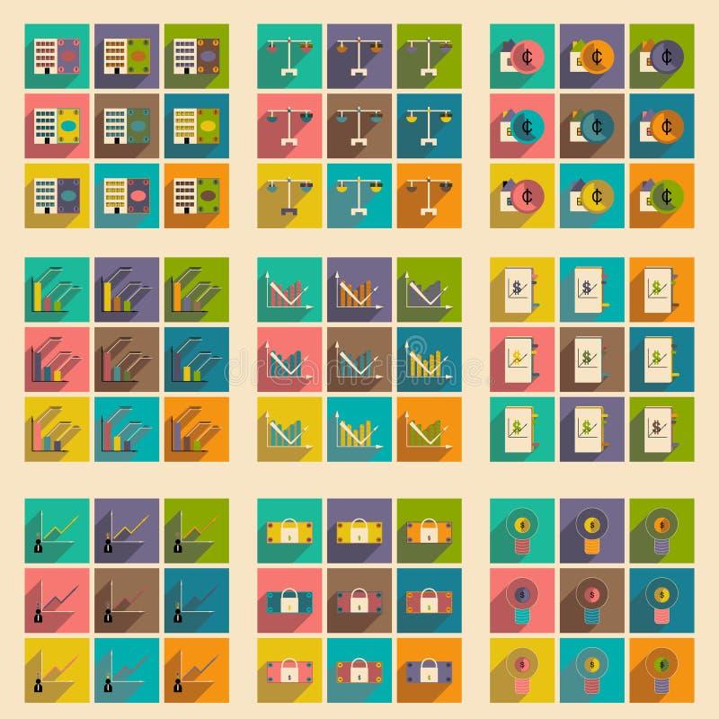 Επίπεδο με τα μοντέρνα εικονίδια χρηματοδότησης έννοιας σκιών απεικόνιση αποθεμάτων