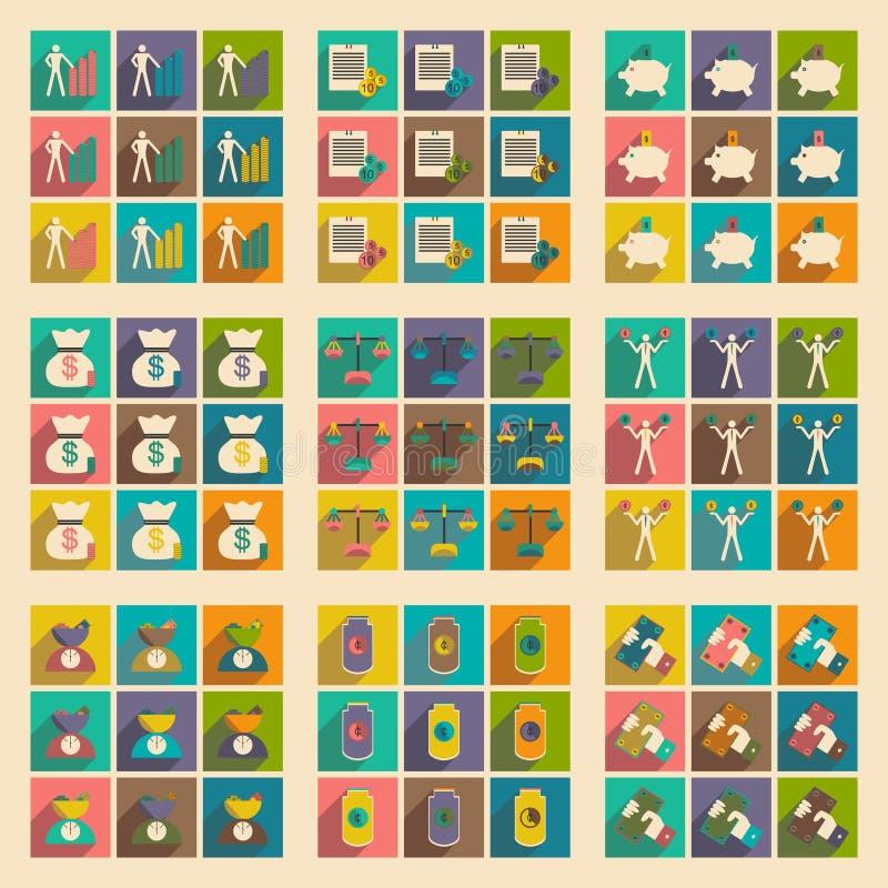 Επίπεδο με τα μοντέρνα οικονομικά εικονίδια έννοιας σκιών ελεύθερη απεικόνιση δικαιώματος