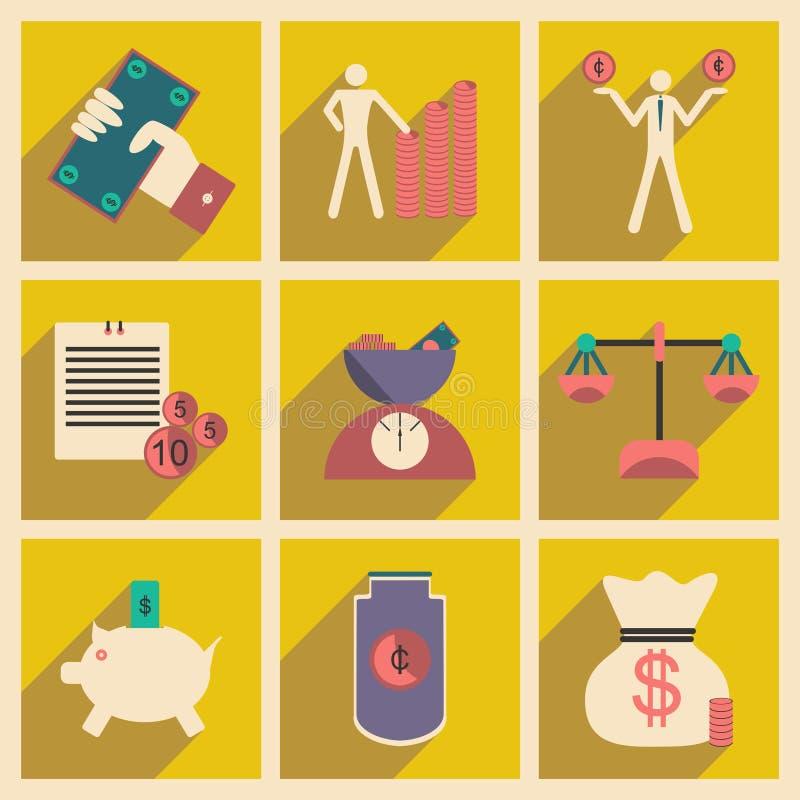 Επίπεδο με τα μοντέρνα οικονομικά εικονίδια έννοιας σκιών απεικόνιση αποθεμάτων