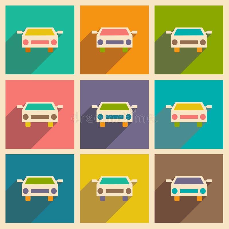 Επίπεδο με το εικονίδιο σκιών και το κινητό αυτοκίνητο applacation ελεύθερη απεικόνιση δικαιώματος