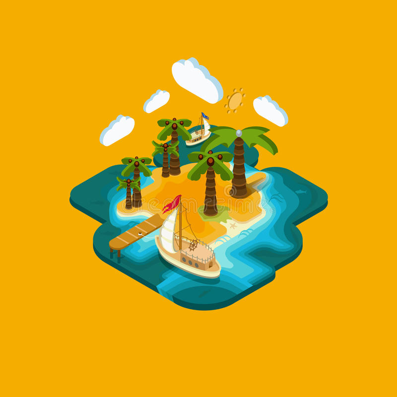 Επίπεδο νησί ερήμων а έννοιας τοπίων isometric απεικόνιση αποθεμάτων