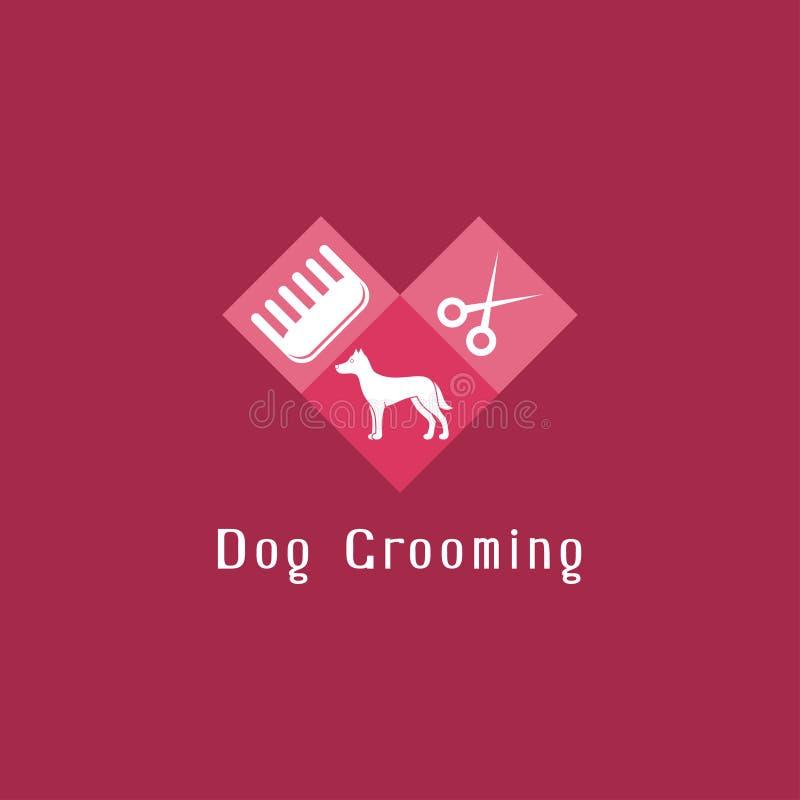 Επίπεδο λογότυπο καλλωπισμού κατοικίδιων ζώων με το σκυλί ελεύθερη απεικόνιση δικαιώματος