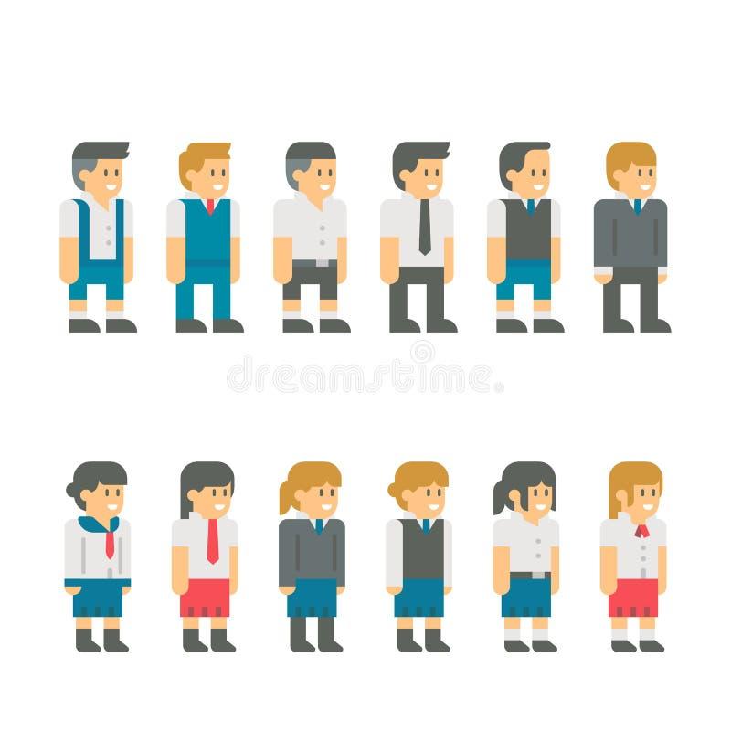 Επίπεδο ομοιόμορφο σύνολο σπουδαστών σχεδίου διανυσματική απεικόνιση