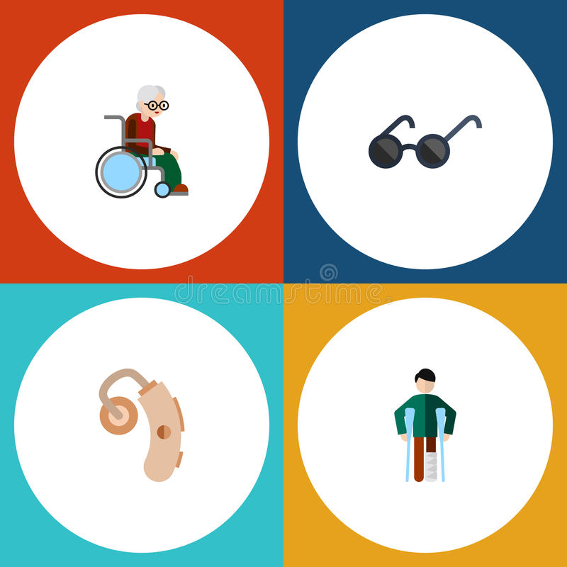 Επίπεδο παρεμποδισμένο εικονίδιο σύνολο τραυματισμένος, ακουολογία, θεάματα και άλλα διανυσματικά αντικείμενα Επίσης περιλαμβάνει απεικόνιση αποθεμάτων