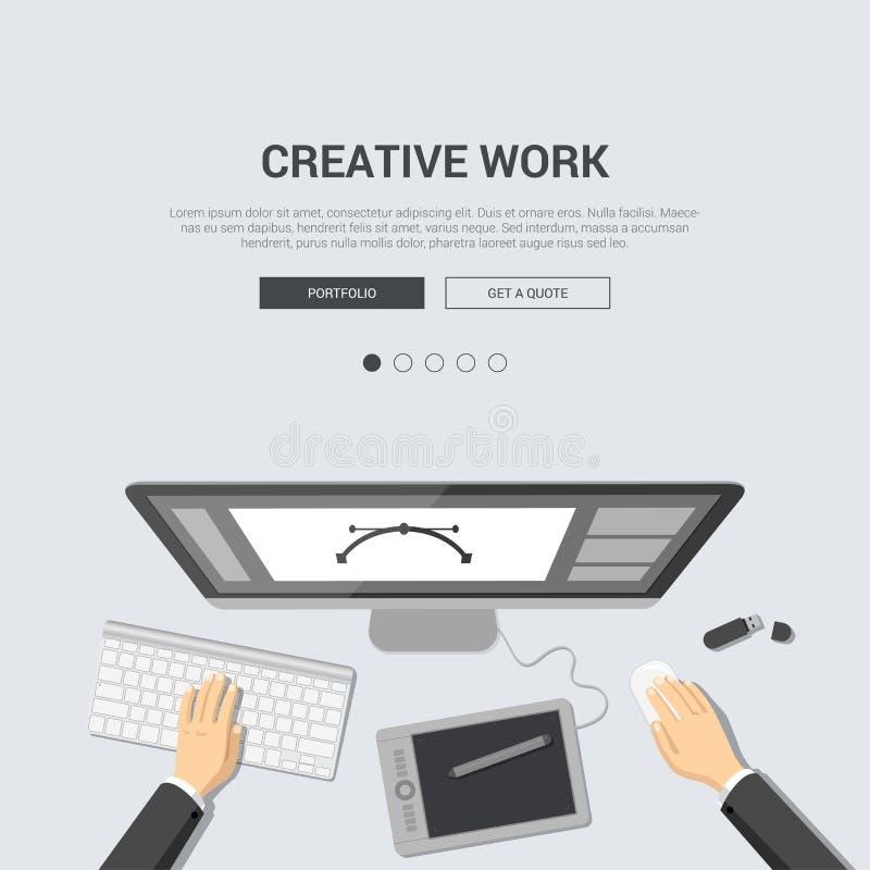 Επίπεδο πρότυπο προτύπων σχεδίου για το δημιουργικό εργασιακό χώρο απεικόνιση αποθεμάτων