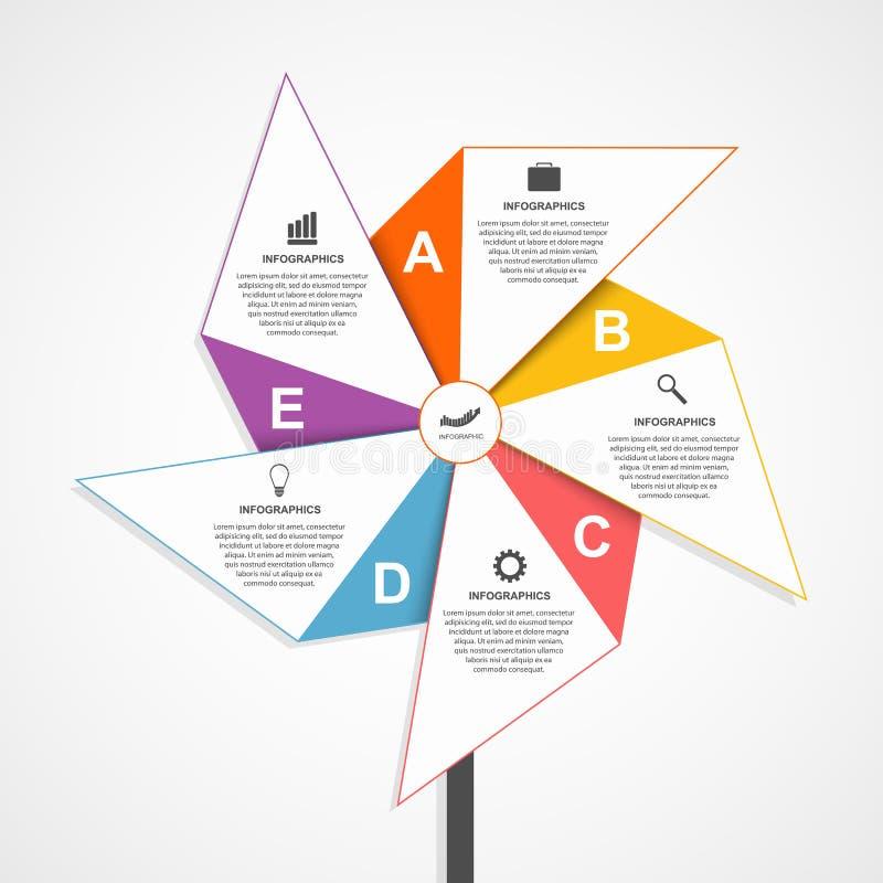 Επίπεδο πρότυπο σχεδίου infographics με μορφή του αέρα pinwheel διανυσματική απεικόνιση