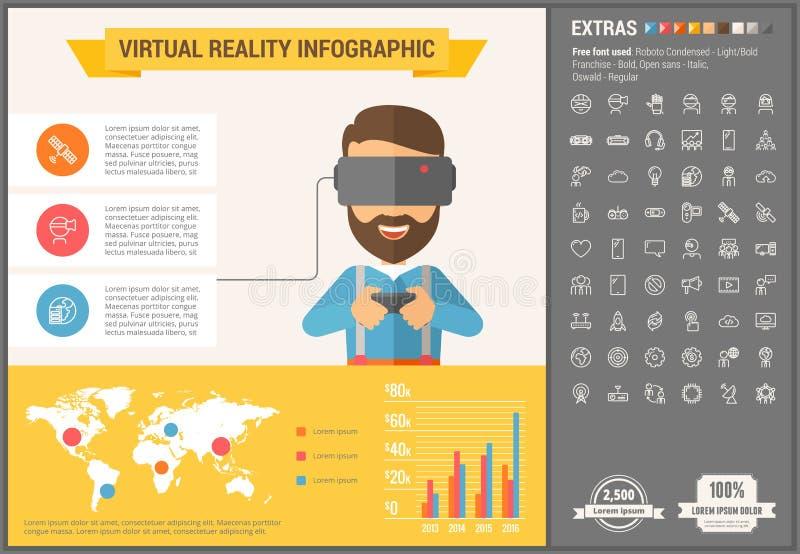 Επίπεδο πρότυπο Infographic σχεδίου εικονικής πραγματικότητας ελεύθερη απεικόνιση δικαιώματος
