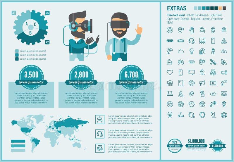 Επίπεδο πρότυπο Infographic σχεδίου εικονικής πραγματικότητας απεικόνιση αποθεμάτων