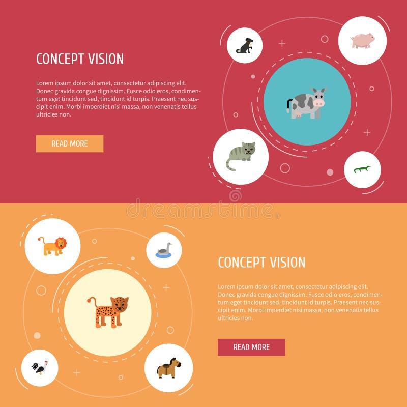 Επίπεδο πόνι εικονιδίων, κόκκορας, χοίροι και άλλα διανυσματικά στοιχεία Το σύνολο επίπεδων συμβόλων εικονιδίων ζωολογίας περιλαμ ελεύθερη απεικόνιση δικαιώματος