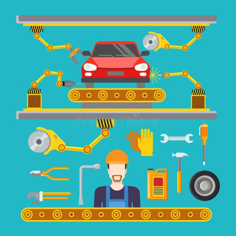 Επίπεδο ρομπότ μεταφορέων γραμμών υπηρεσιών αποτυπώσεων επισκευής αυτοκινήτων ομο διανυσματική απεικόνιση