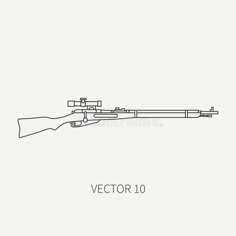 Επίπεδο σαφές διανυσματικό στρατιωτικό τουφέκι εικονιδίων γραμμών, carbine Εξοπλισμός και εξοπλισμός στρατού Θρυλικό αναδρομικό ό διανυσματική απεικόνιση