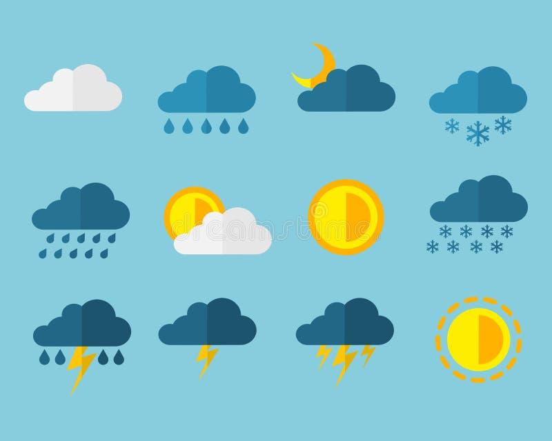 Επίπεδο σημάδι εικονιδίων Ιστού καιρικής μετεωρολογίας καθορισμένο - σύμβολα ήλιων, βροχής, χιονιού, σύννεφων, θύελλας & αστραπής ελεύθερη απεικόνιση δικαιώματος