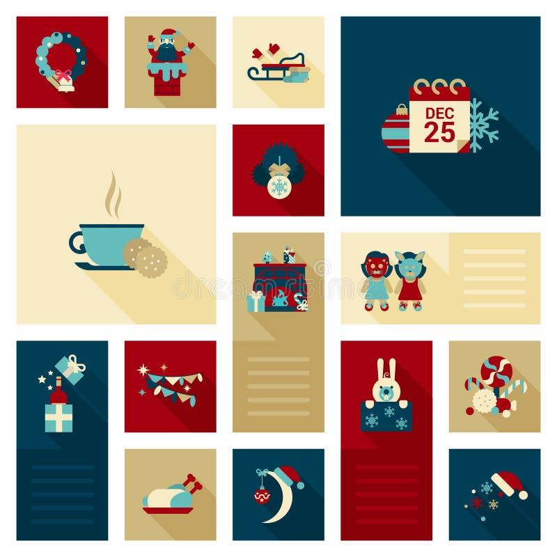 Επίπεδο στεφάνι εικονιδίων Χριστουγέννων, σύνολο στοιχείων διακοσμήσεων καπνοδόχων Santa ελεύθερη απεικόνιση δικαιώματος