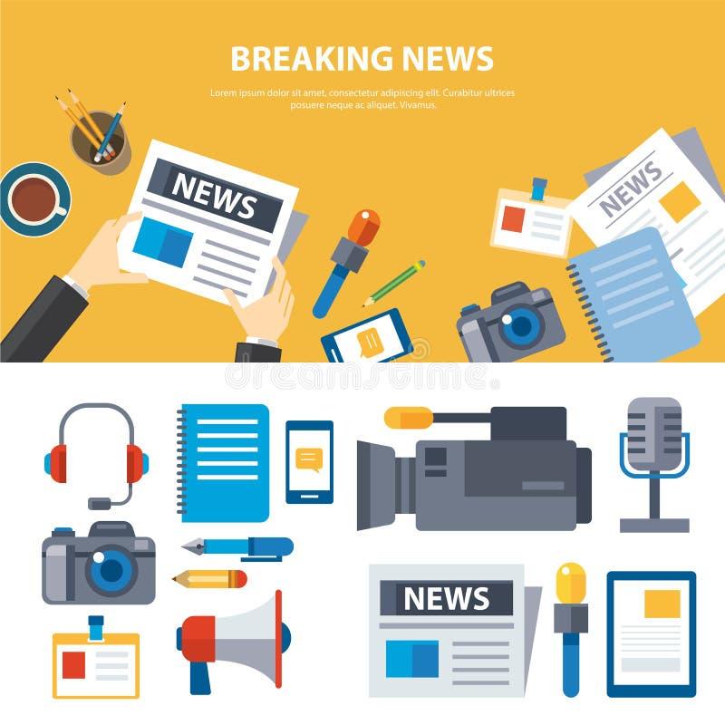 Επίπεδο σχέδιο έννοιας στοιχείων έκτακτων γεγονότων και εμβλημάτων μέσων ελεύθερη απεικόνιση δικαιώματος