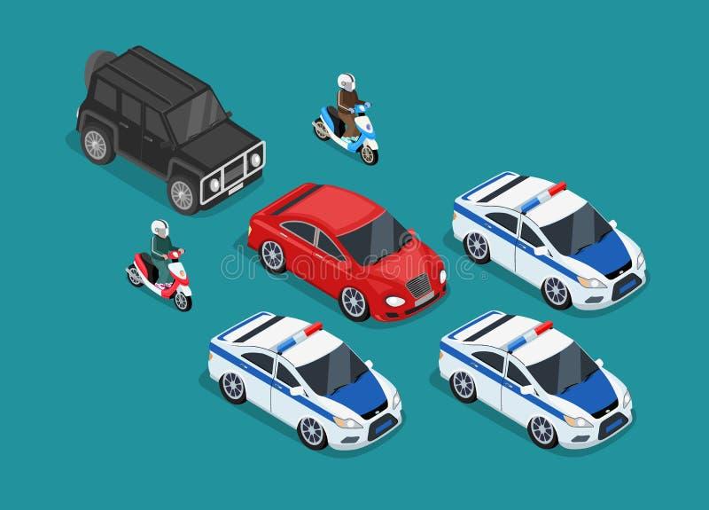 Επίπεδο σχέδιο αυτοκινήτων αυτοκινητοπομπών αστυνομίας ελεύθερη απεικόνιση δικαιώματος