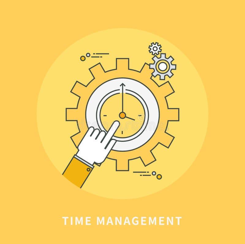 Επίπεδο σχέδιο γραμμών χρώματος κύκλων της χρονικής διαχείρισης, σύγχρονη απεικόνιση ελεύθερη απεικόνιση δικαιώματος