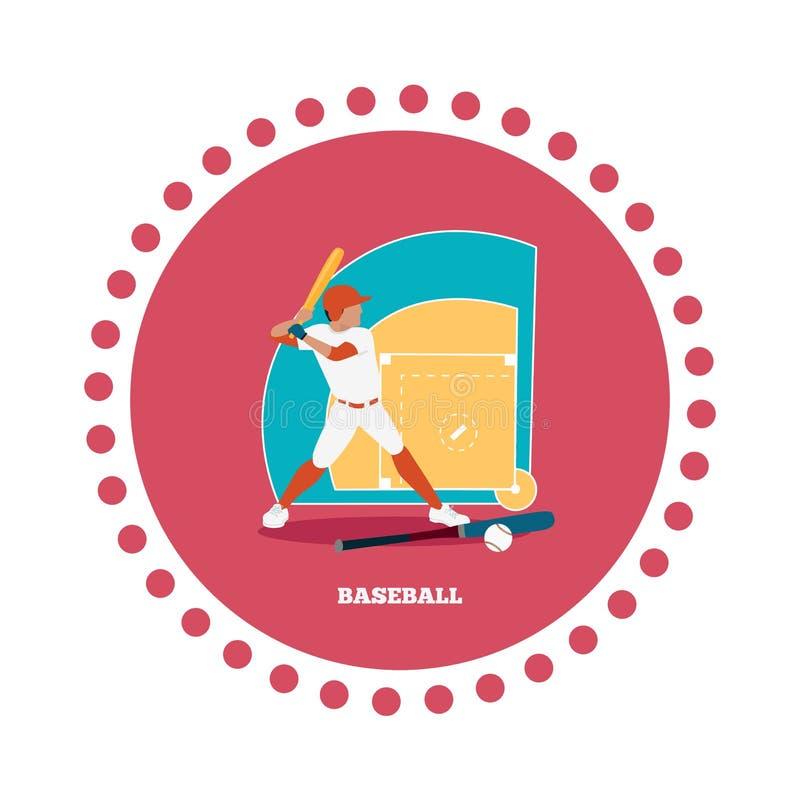 Επίπεδο σχέδιο εικονιδίων αθλητικής έννοιας μπέιζ-μπώλ απεικόνιση αποθεμάτων