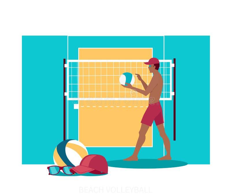 Επίπεδο σχέδιο εικονιδίων αθλητικής έννοιας πετοσφαίρισης παραλιών διανυσματική απεικόνιση