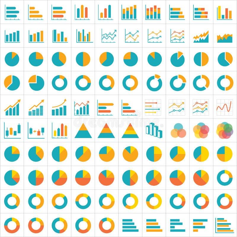 επίπεδο σχέδιο εικονιδίων γραφικών παραστάσεων 100 και διαγραμμάτων infographic διανυσματική απεικόνιση
