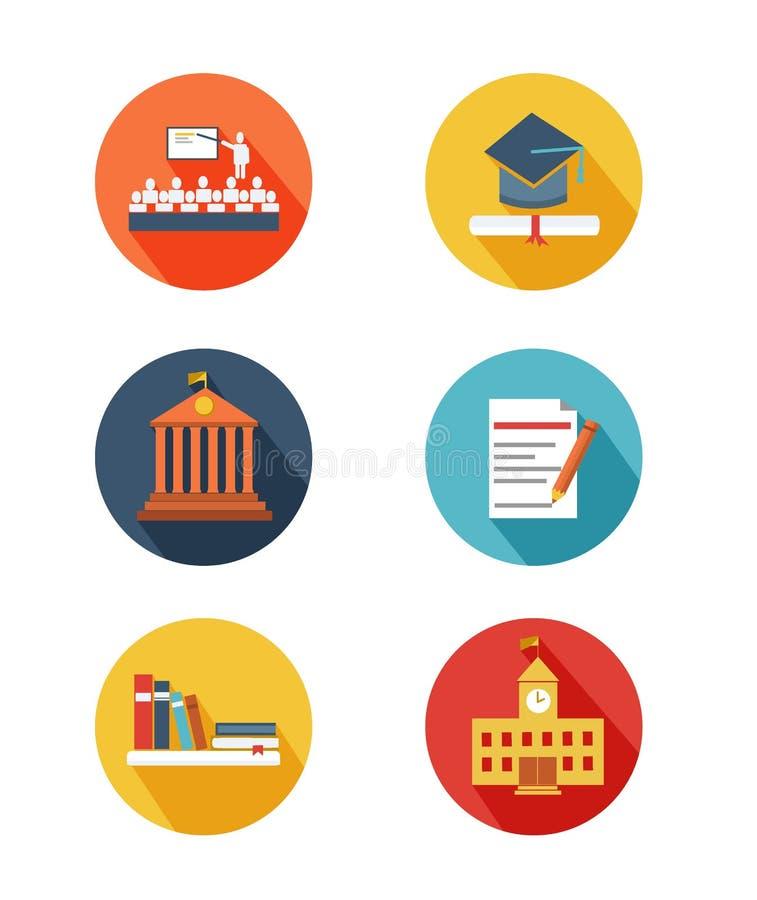 Επίπεδο σχέδιο εικονιδίων εκπαίδευσης στοκ εικόνα