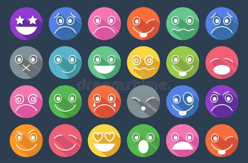 Επίπεδο σχέδιο εικονιδίων Smiley διανυσματική απεικόνιση