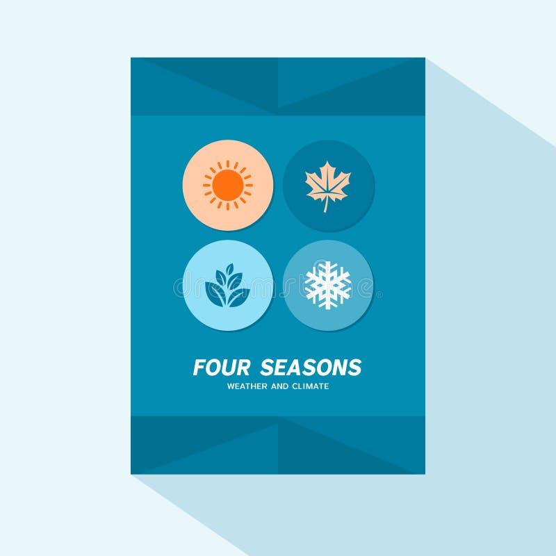 Επίπεδο σχέδιο κάλυψης φυλλάδιων με τέσσερα εικονίδια εποχών διανυσματική απεικόνιση