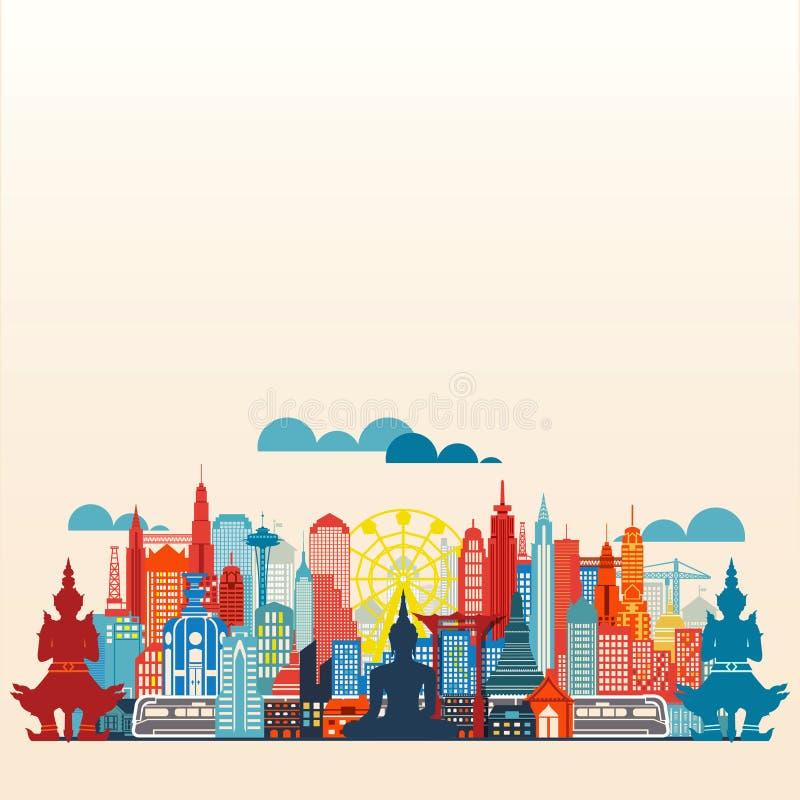 Επίπεδο σχέδιο πανοράματος μητροπόλεων της Μπανγκόκ διανυσματική απεικόνιση