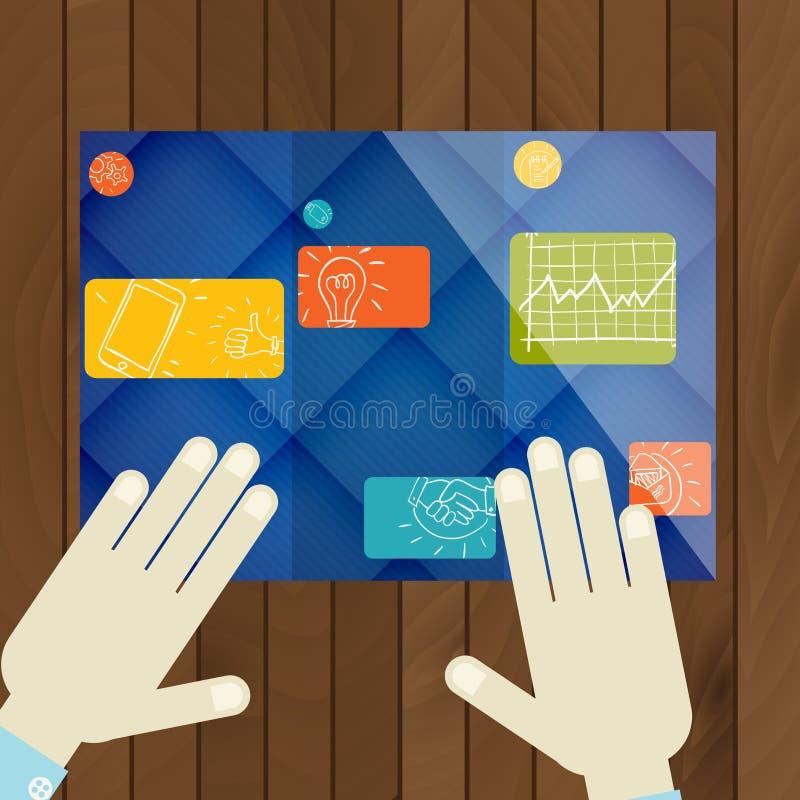 Επίπεδο σχέδιο, πρότυπο φυλλάδιων απεικόνιση αποθεμάτων