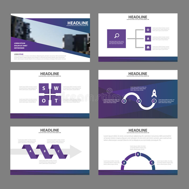 Επίπεδο σχέδιο στοιχείων Infographic προτύπων παρουσίασης κομψότητας το πορφυρό έθεσε για τη διαφήμιση μάρκετινγκ φυλλάδιων ιπτάμ ελεύθερη απεικόνιση δικαιώματος