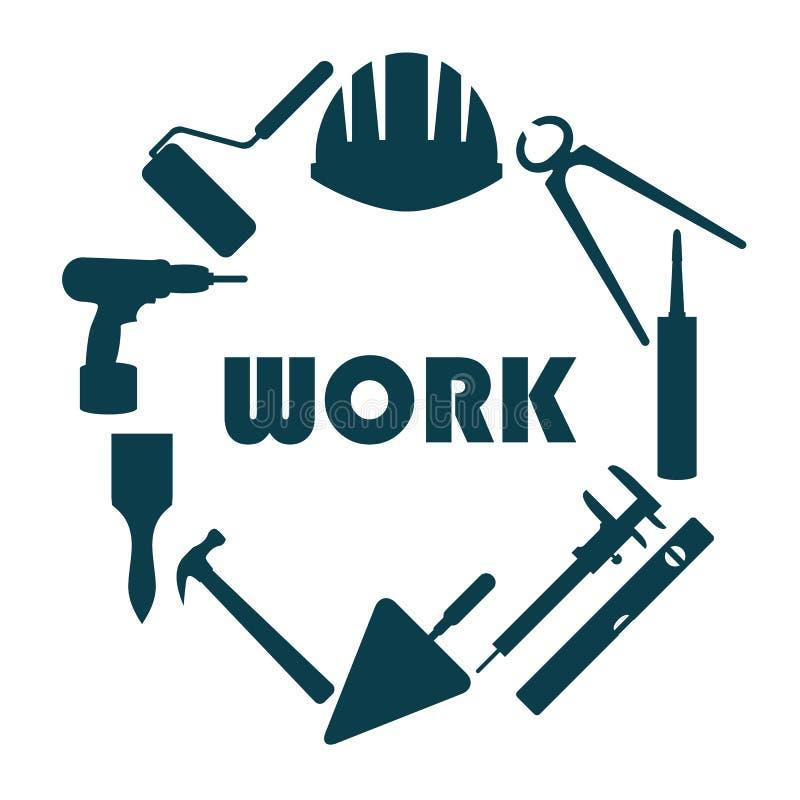 Επίπεδο σχέδιο Στρογγυλό λογότυπο με τα εικονίδια επισκευής σπιτιών στοκ εικόνα