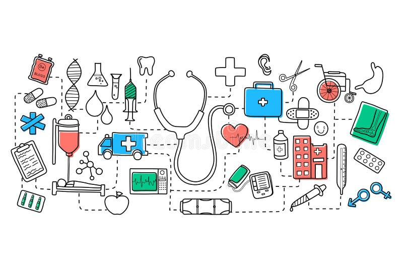 Επίπεδο σχέδιο τέχνης γραμμών της ιατρικής έννοιας διανυσματική απεικόνιση
