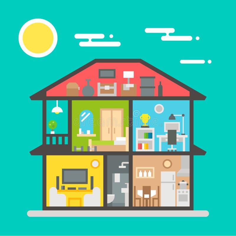 Επίπεδο σχέδιο του εσωτερικού σπιτιών απεικόνιση αποθεμάτων